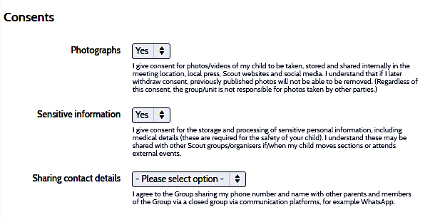 OSM consents box
