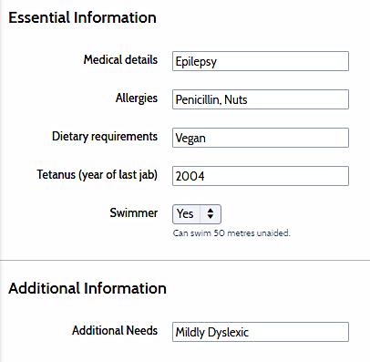OSM Essential Info entry box