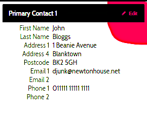 OSM Primary Contact 1 entry box